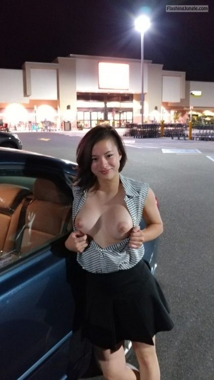 Shame! first time flashing boobs