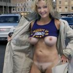 Cougar blonde flashing big tits: open front coat no underwear