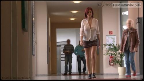 Redhead secretary big rack and mini skirt voyeur boobs flash