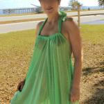 Green see through summer dress reveals sexy body
