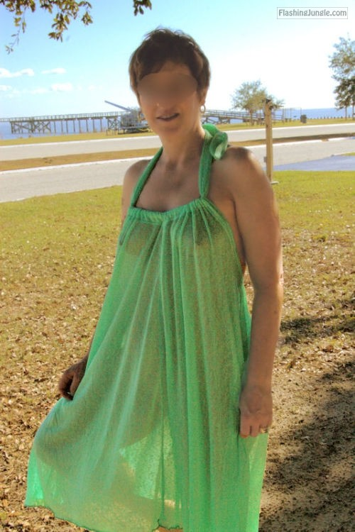 Green see through summer dress reveals sexy body public flashing milf pics howife bitch