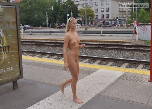 Petite blonde caught naked next to railway public nudity