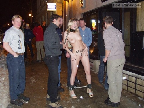 German Blonde on leash in chains surrounded by drunk guys voyeur public nudity