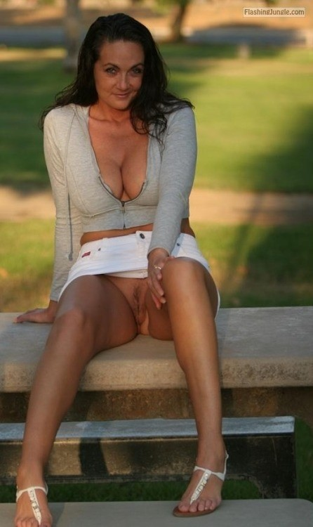 Shy MILF deep cleavage short white skirt park upskirt pussy flash public flashing no panties milf pics