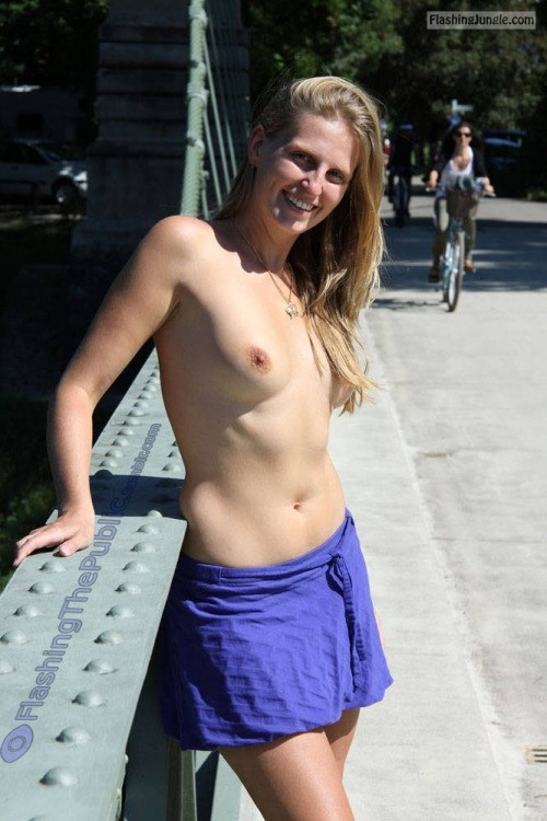 flashingthepublic: Wearing a top is so overrated! i hope she... public nudity