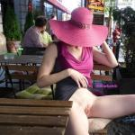 miaexhib: Upskirt at the cafe