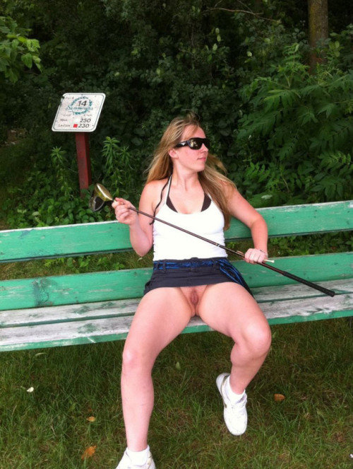 carelessinpublic:In a park in a short skirt and showing her... public flashing