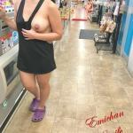 flashing-wives: Naughty shopping without underpants and bra