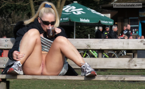 darkflashbdsm: having a hot tea on a winter walk. with sun on... no panties