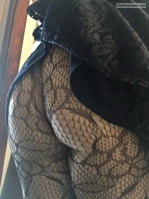 arousingexpectations: No panties + lace tights. Tonight will be... no panties