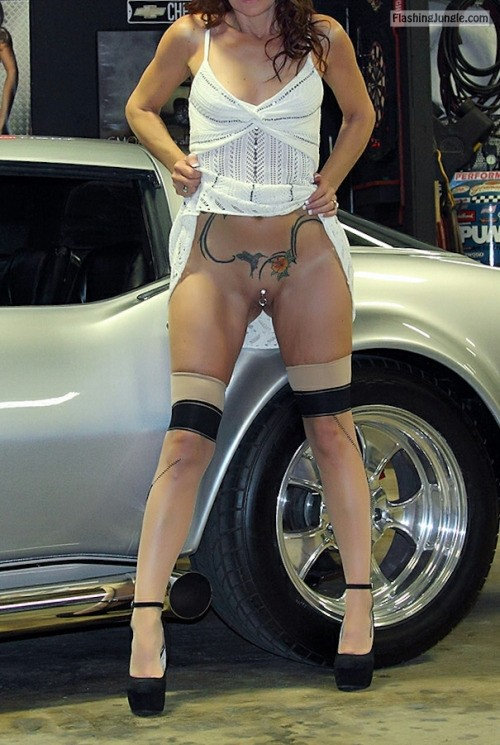 badreputationsoldman: Another hot day at the shop with Baby. no panties