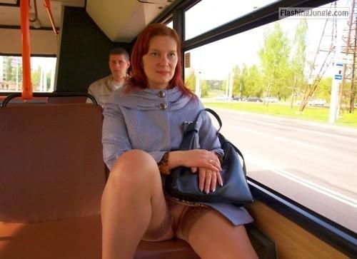 pantyless upskirt love:Pantyless on the bus public flashing