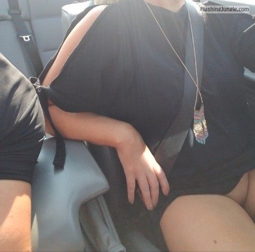 workhardplayhardercouple: Riding around with the top... no panties