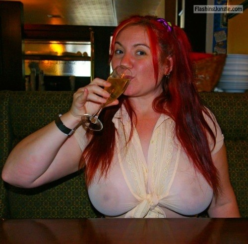 commandofashion:No bra redhead public flashing