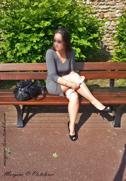 morgane love: Taking my panties off on a public bench in a... no panties