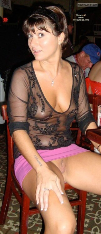 carelessinpublic:Almost nude in a transparent dress and short... public flashing
