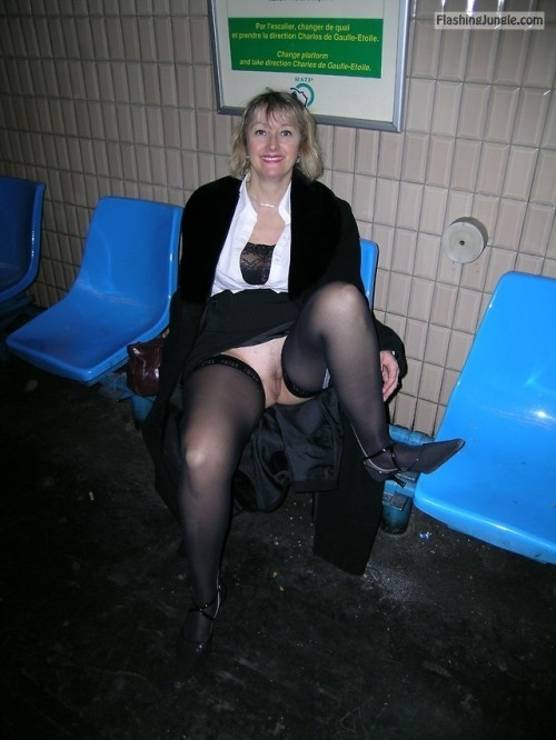carelessinpublic:In a short skirt inside a train station and... public flashing