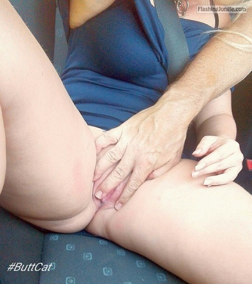 justbuttcat: Fun in our car on a vacation trip. no panties