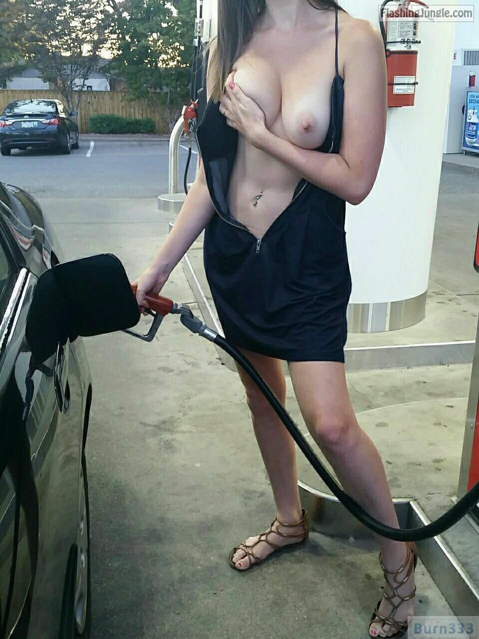 Filling tank and flashing big boobs on gas station public flashing