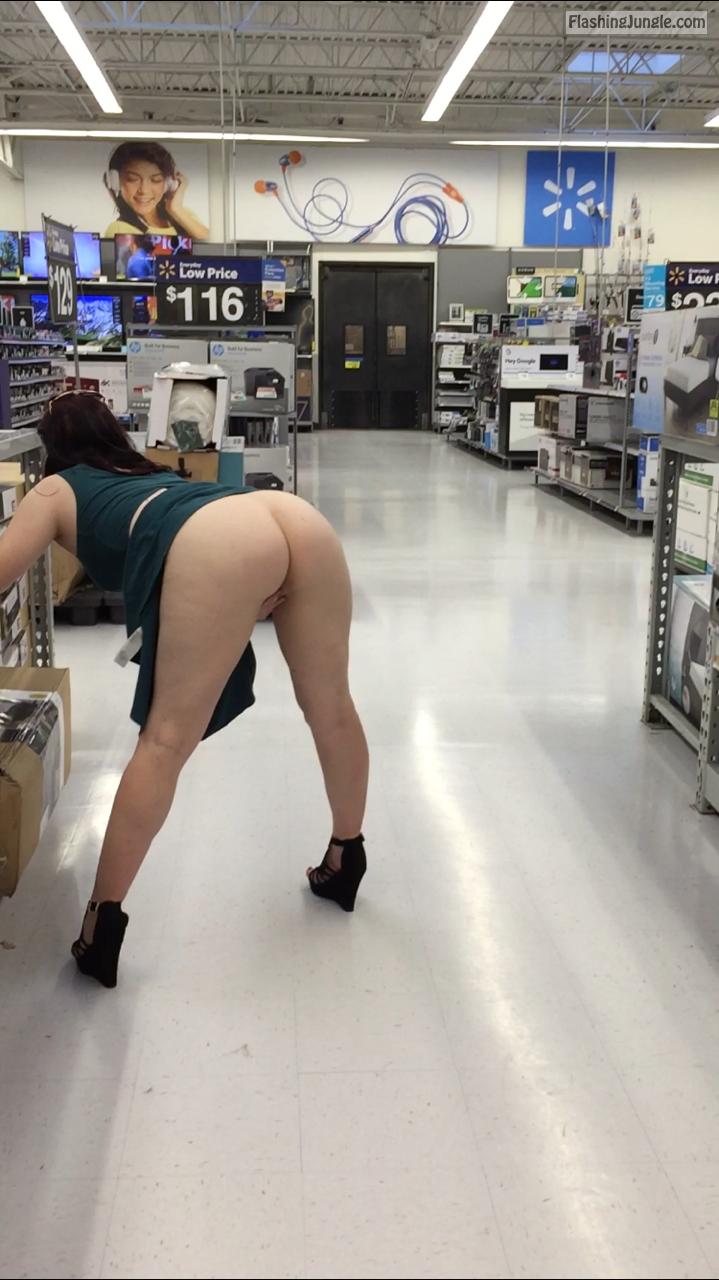 Fuck me now – wife flashing ass in store public flashing