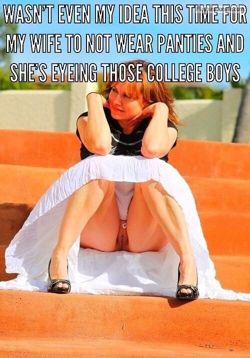 Pantyless wife eyeing college boys public flashing