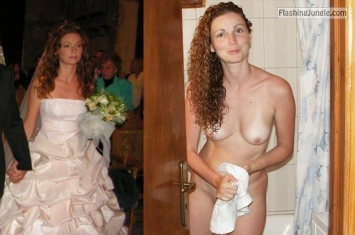 brides caught in oops moment on their wedding day. downblouse /... public flashing