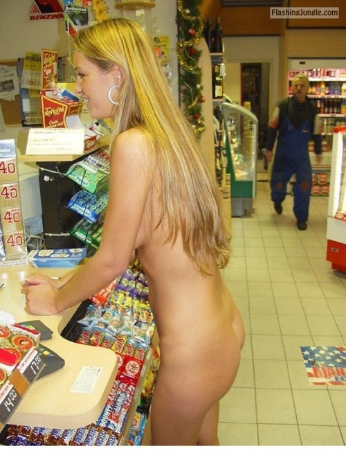 visions of johanna naked:She lost a bet. public nudity