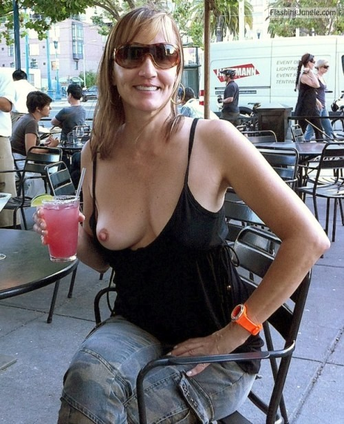one tit out:One Tit Out public nudity