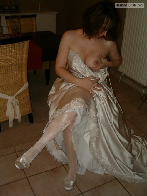 sexy brides on their wedding days caught in oops moment in... public flashing
