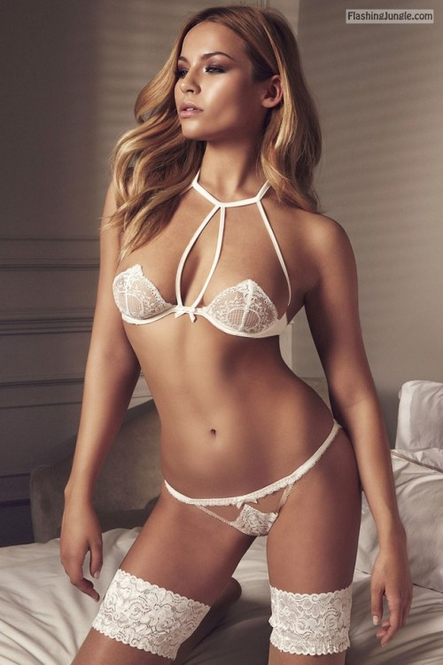 jsc lingerie beauties: Lingerie White public flashing