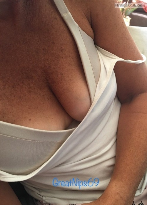 greatnips69:Some GreatNips69 cleavage on a Saturday morning public flashing