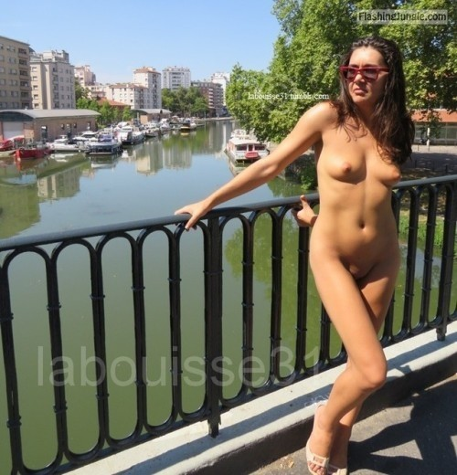 Brunette with perky tits naked in public public nudity public flashing no panties