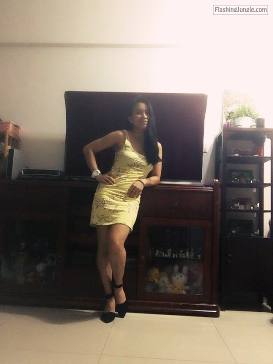 Hot wifey shows off her killer body in yellow dress no panties howife