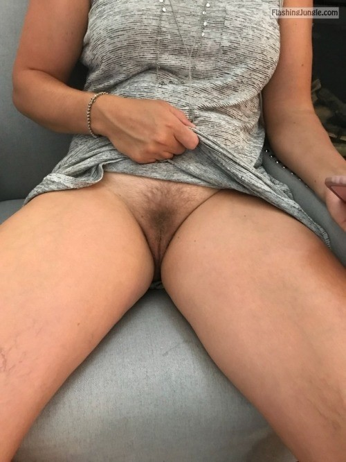 ncplsecret: Natural no panties at work Like it I will spread... no panties