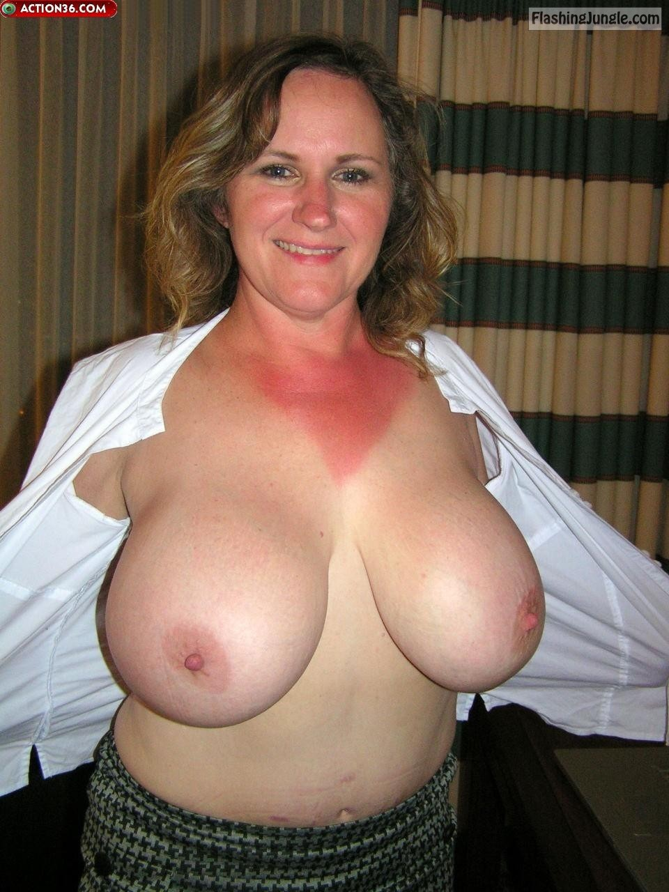 Kinky Milf Opens Up Her Dress Shirt And Shows Massive Tits
