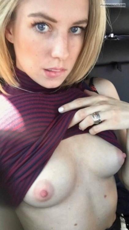 Blueyed blond flashing big nipples from car public flashing boobs flash