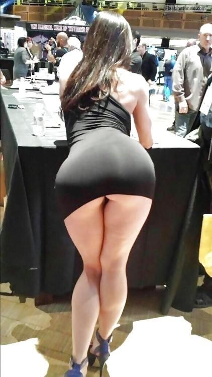 Wide booty narrow hips tight black dress hostess  on fair upskirt public flashing no panties ass flash
