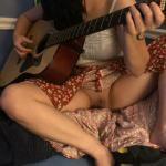 Playing guitar pantyless GF