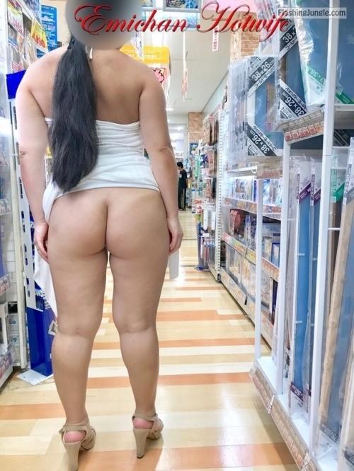 Chubby hotwife bottomless in shop public flashing no panties milf pics howife flashing store ass flash