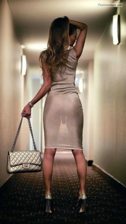 Exotic sissy trap in see through satin dress and high heels dick flash