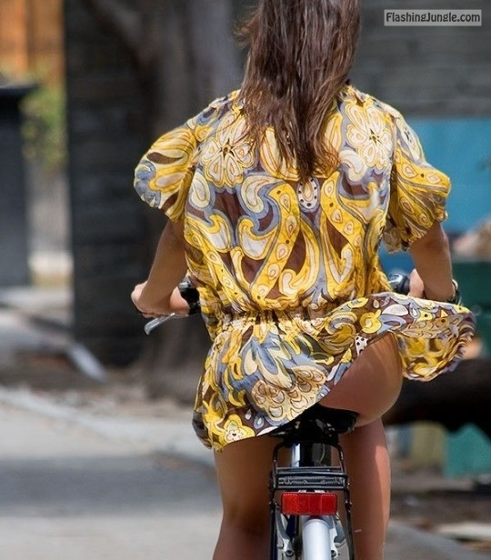 Voyeur caught perfect upskirt on bicycle moment ass flash