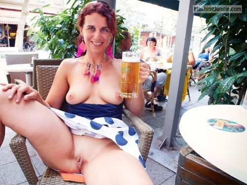 German slutwife pussy and boobs exposed while drinking beer public flashing