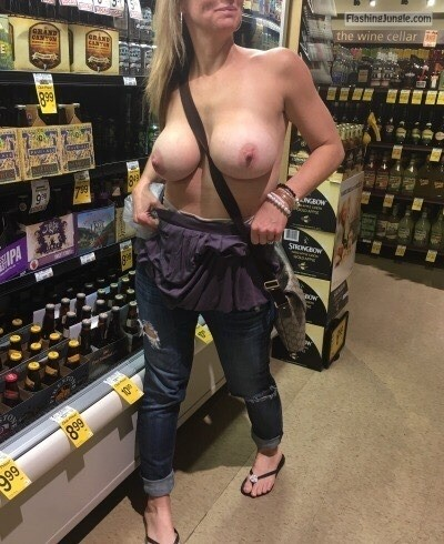 Big bare tits at supermarket   Blond topless wife flashing tits public nudity