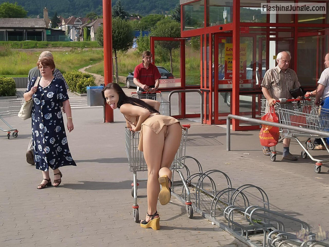 Pantieless slut bent over among old people public nudity