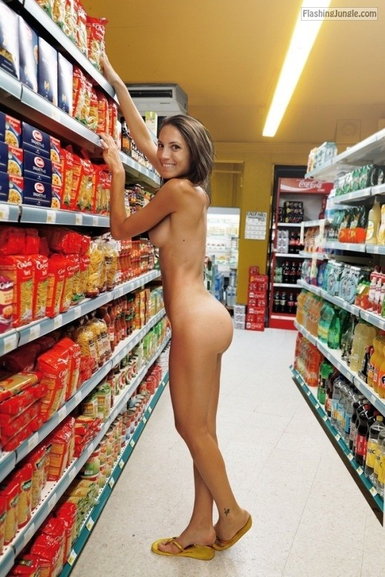 Wife on vacation fully naked among supermarket shelves public nudity