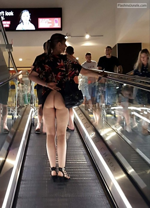 Let see if they will spot my naked ass on escalator no panties