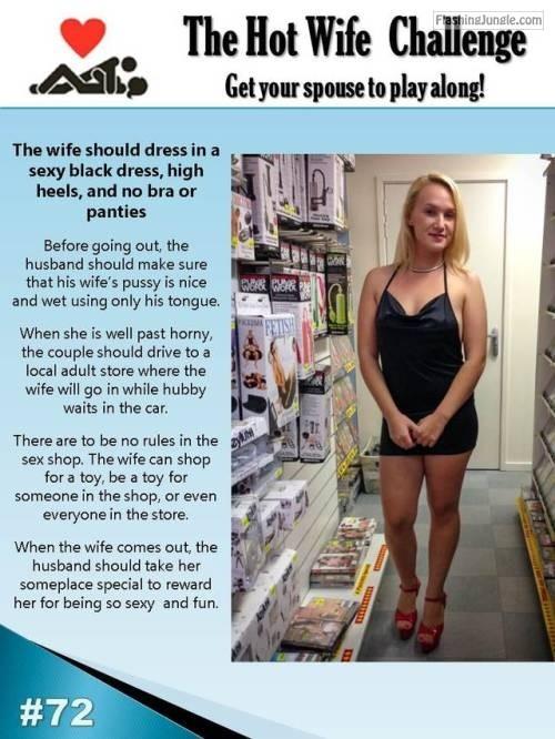 Hotwife challenge   No underwear under black dress howife