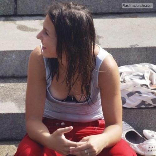 Public downblouse voyeur caught a pair of tits with tan lines voyeur