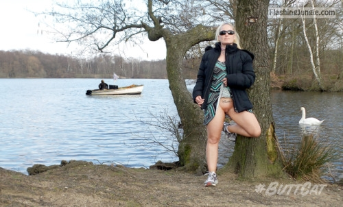 Blond cougar flashing cunt by the lake no panties