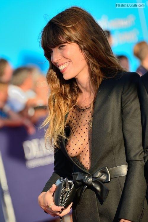 Voyeur caught nice sideboob no bra under see through blouse boobs flash